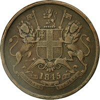 Coin, INDIA-BRITISH, 1/2 Anna, 1845, Calcutta, VF(30-35), Copper, KM 447.1