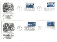 1480-83 Boston Tea Party American Revolution, ArtCraft, set of 4 FDCs