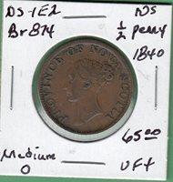 1840 Nova Scotia 1/2 Penny Token - NS-1E2 - VF+
