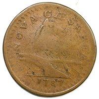 1787 64-t Large Planchet New Jersey Colonial Copper Coin