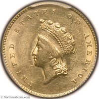 1855 Gold Dollar PCGS MS61 Gold Dollar