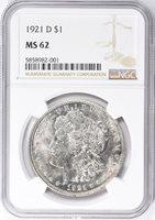 1921-D $1 MS62 NGC