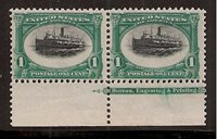 #294 Mint 1-NH, 1-LH Tab Pair, Major Black Color Shift Variety, Very High Tide Variety Item Number: 20 Our Selling Price: $125.00