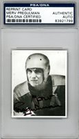 Merv Pregulman Autographed Signed Bowman Reprint Card Lions PSA/DNA 83921799