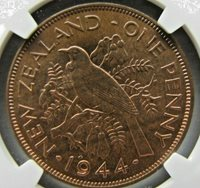 New Zealand Penny 1944 NGC MS 65 RB. Solo finest graded.