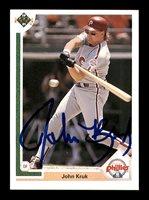 John Kruk Autographed 1991 Upper Deck Card #199 Philadelphia Phillies SKU #184153John Kruk Autographed 1991 Upper Deck Card #199 Philadelphia Phillies SKU #184153