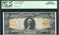 FR. 1186 1906 $20 TWENTY DOLLARS GOLD CERTIFICATE CURRENCY NOTE PCGS UNC-65PPQ