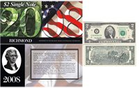 2003A $2 Bill 2008 BEP Portfolio Issue Richmond District Serial #E20084813D