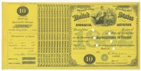 Manufacturer of Cigars 1882 $10 black blue (yellow) punched remainder, VF