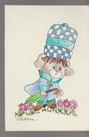 "GET WELL SOON Sad Pup Dog w/ Hat & Umbrella 5x7"" Greeting Card Art #nn"