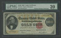 FR1211 $100 1882 GOLD NOTE NAPIER / THOMPSON PMG 20 VF+ ONLY 57 KNOWN WLM7843