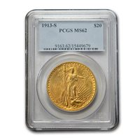 1913-S $20 Saint-Gaudens Gold Double Eagle MS-62 PCGS - SKU#80057