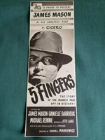 """1 HALF PAGE FILM ADVERT-CLIPPING - """" 5 FINGERS """" - JAMES MASON"""