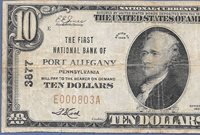 PA 1929 $10 ♚♚PORT ALLEGANY,PENNSYLVANIA♚♚ HARD TO FIND!!!