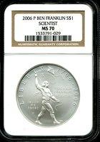 2006-P $1 Ben Franklin Scientist Commemorative Dollar MS70 NGC 1533791-029