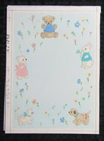 "A NEW BABY Cute Stuffed Animals & Flowers 6.25x8.5"" Greeting Card Art #J1843"
