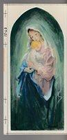 "RELIGIOUS Beautiful Virgin Mary Holding Baby Jesus 4x8"" Greeting Card Art #156B"