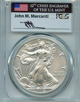 2016 W Burnished Silver Eagle PCGS SP70 First Strike Mercandi C36