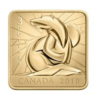 2010 Polar Bear $3 Conservation Square-Shaped Gold-Plated Silver