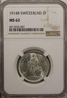 Switzerland 2 Francs 1914 B NGC MS 62 UNC Silver Bern Mint