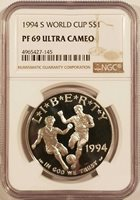 1994-S World Cup $1 Silver Dollar Commemorative NGC PF69 Ultra Cameo