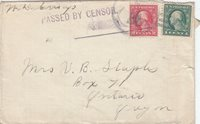 1918, USS New Jersey, Censored Cover (N803)