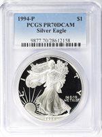1994-P $1 Silver Eagle PR70DCAM PCGS