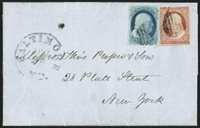 """1c Blue, Ty. II (7). Position 82L1E, large margins to just touched, used with 3c Dull Red, Ty. II (11A), margins to in, tied by grid cancels, """"Baltimore Md. Aug. 25"""" circular datestamp on blue 1852 folded letter to New York City, 1c tiny surface scuff, otherwise Fine, with 2008 P.F. certificate"""
