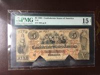 T-31 PF-1 $5 Confederate Paper Money 1861 - PMG Choice Fine 15 Net!