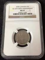 CANADA 5 CENTS 2005 VE-DAY 60TH ANN. NGC MS67 COIN UNC