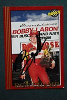 Nascar Driver Bobby Labonte signed / autographed 1992 Maxx racing card-VINTAGE!