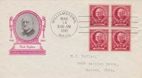 1940 FAMOUS AMERICANS IOOR CACHET W/BLOCK OF 4 - MARK HOPKINS SCOTT #870
