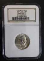 1947 D Washington Quarter Dollar NGC MS 63