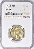 1936-D 25C MS66 NGC