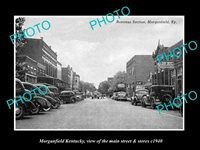 OLD LARGE HISTORIC PHOTO OF MORGANFIELD KENTUCKY THE MAIN STREET & STORES c1940