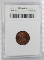 1908 Indian Head Cent ANACS MS64 RB