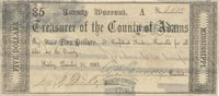 Natchez Adams Co. Treasurers Warrant 1862 $5 C-840 50303f/c Unl Unl A County Warrant printed on the back of former Bills of Exchange, payable in Confederate funds with full printed date; full margins & good centering are seen Ch VF+