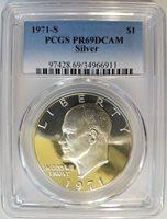 1971 S Eisenhower IKE PCGS PR 69 DCAM SILVER Dollar Proof DMPL PL DPL PF CAMEO
