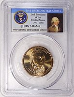 2007 D Pos. A John Adams Presidential Dollar PCGS MS 65 FDI Presidential Label Holder