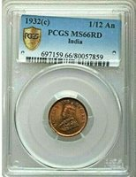 1932 C British India 1/12 Anna, PCGS MS 66 RD, Red, None Finer @ NGC, 859