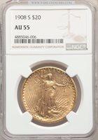 1908-S $20 AU55 NGC