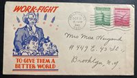 1943 Opportunity WA USA Patriotic Cover To Brooklyn NY Work Fight Better World