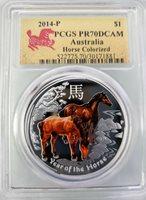 2014-P $1 AUSTRALIA COLORIZED HORSE PCGS PR70