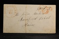 Massachusetts: East Douglas 1850s Stampless Cover, Very Fancy Large Red PAID 3