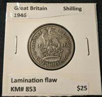 Great Britain 1946 Shilling 1/- KM# 853 Lamination flaw #595