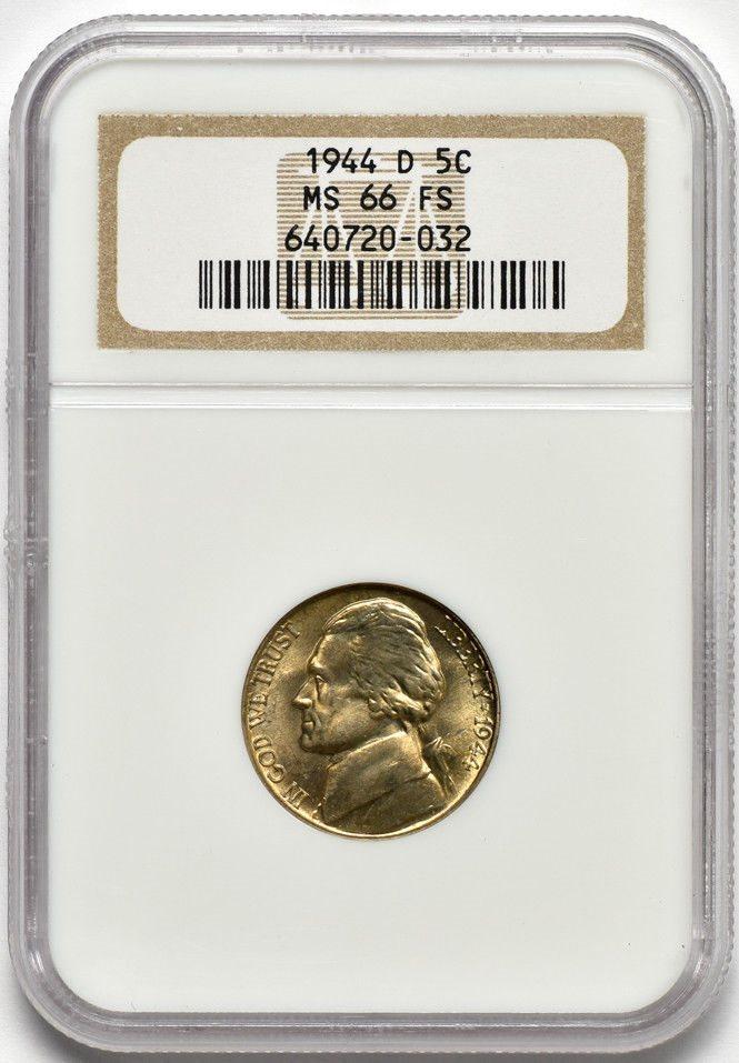 Denver Mint. 1944 D Silver War Nickel PCGS MS66 FS Full Steps