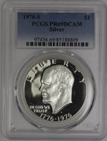 1976-S (1776-1976) Eisenhower Dollar PCGS PR69DCAM Silver