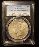 1922 $1 Peace Dollar VAM 6 PCGS AU53