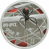 Tuvalu 2011 RED BACK SPIDER DEADLY DANGEROUS 1 Oz Silver Coin Russian Version