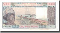 5000 Francs 1977-1991 West African States Banknote, 1989, Km:108ag